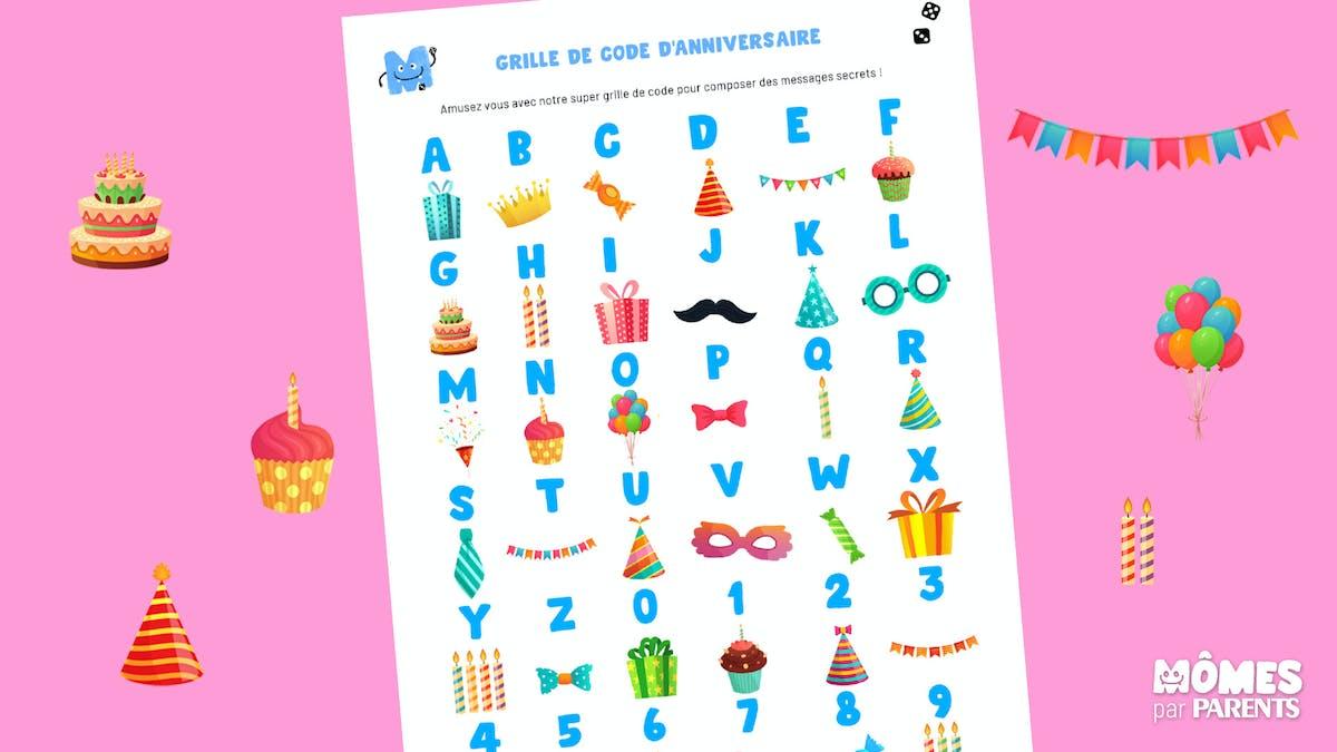 Grille de code secret pour les anniversaires
