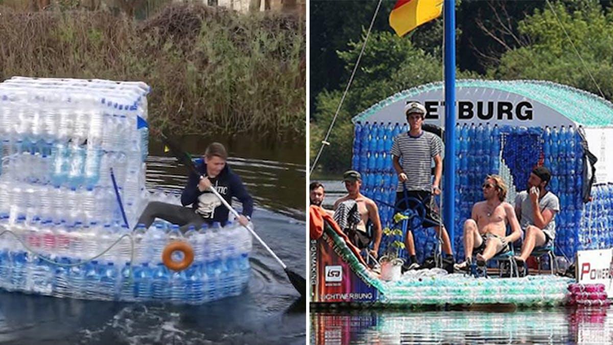 Des bateaux en bouteilles plastique