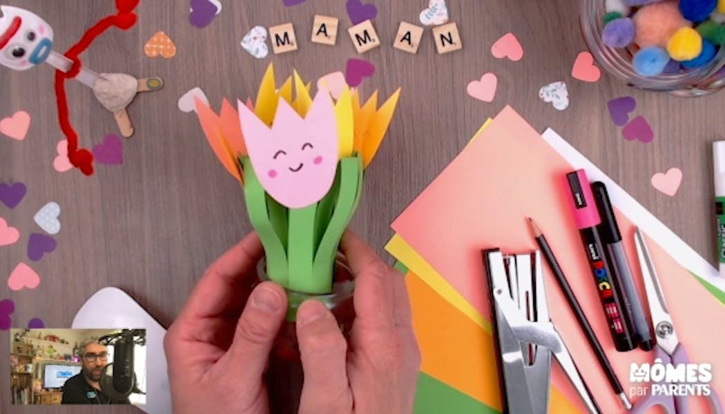 Vidéo - Replay - Mômes Part en Live - bouquet de fleurs en papier pour fête des mères